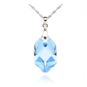 Light blue swarovski crystal pendant necklace csymbol sterling silver swarovski crystal angel pendant aloadofball Image collections
